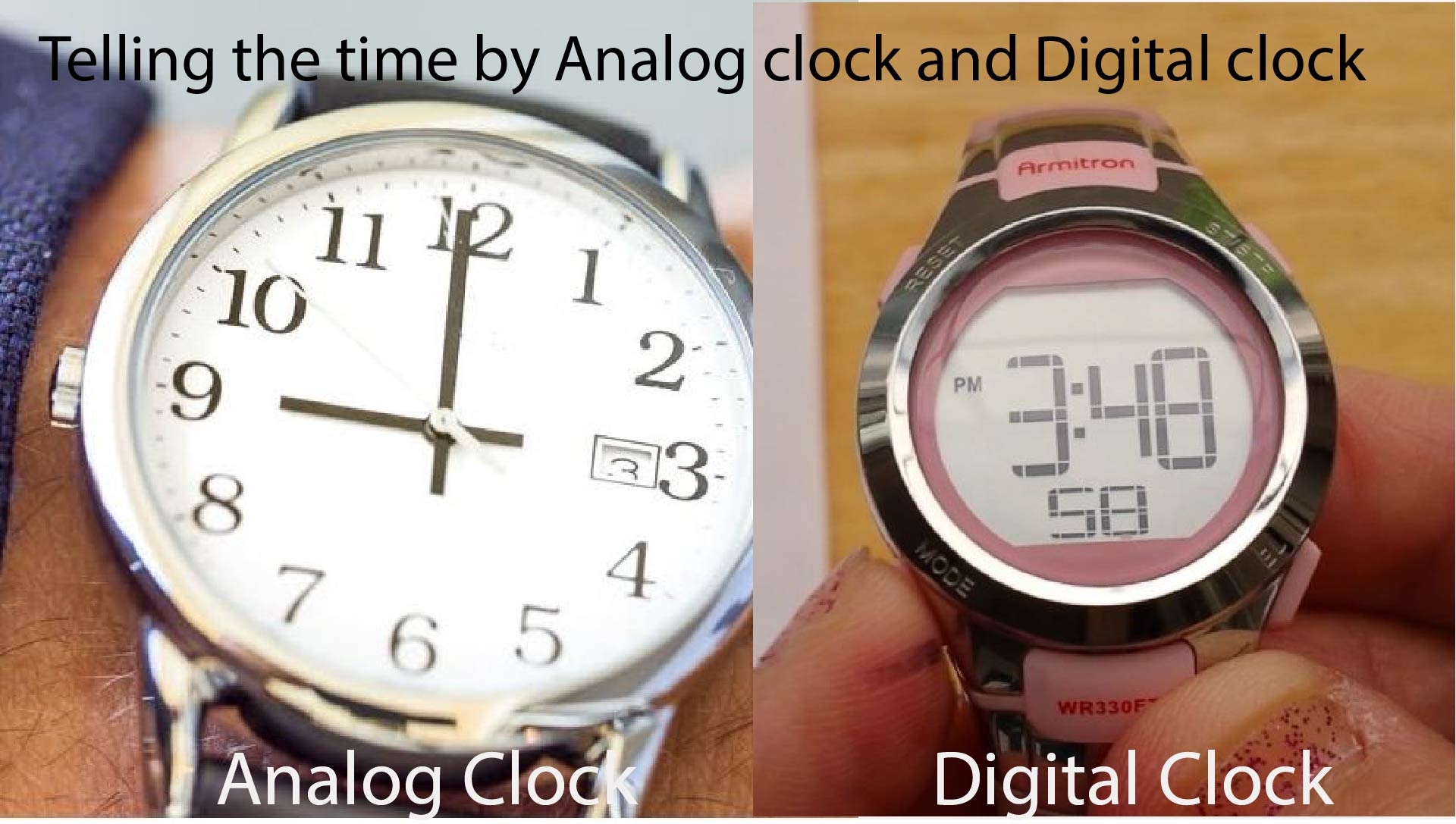 Telling the time by Analog clock and Digital clock